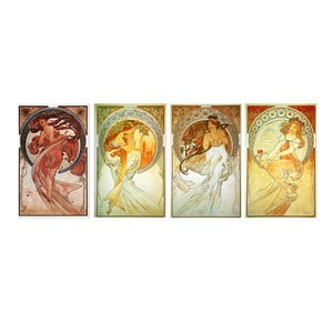 Set 4 tablouri Alfons Mucha - The Arts, 50x80 cm