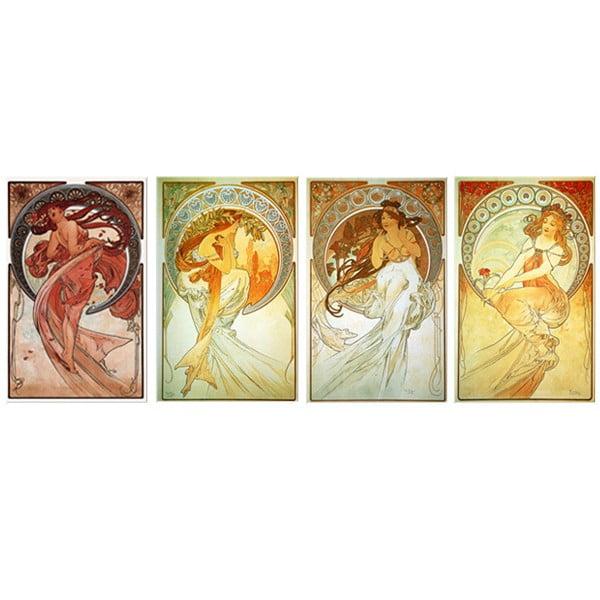 Sada 4 obrazů The Arts od Alfonse Muchy, 50x80 cm