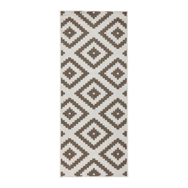 Hnedo-krémový obojstranný koberec vhodný aj do exteriéru Bougari Malta, 80 × 150 cm
