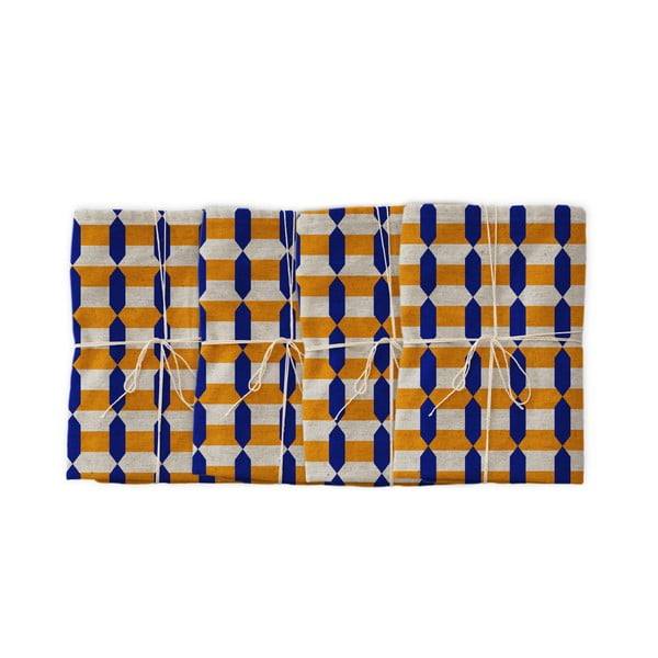 Sada 4 látkových ubrousků s příměsí lnu Linen Couture Orange Geometric, 43 x 43 cm