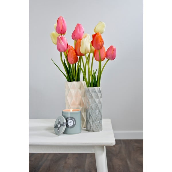Šedá-bílá váza Hawke&Thorn,výška19cm