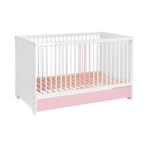 Pătuț copii KICOTI Circle, 70x140cm, roz - alb