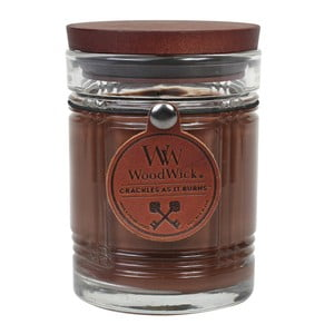 Lumânare parfumată WoodWick Antique, aromă de ceai negru, miere și coniac, 50 ore