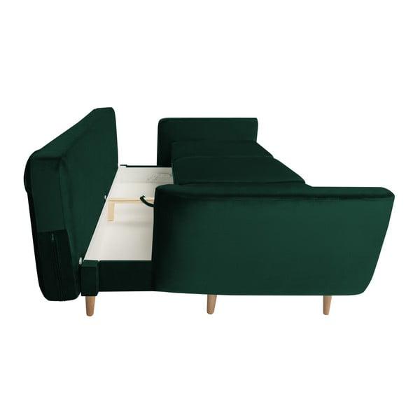 Zelená rozkládací třímístná pohovka s úložným prostorem Mazzini Sofas Silva
