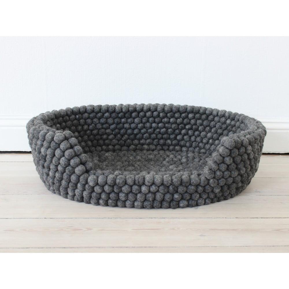 Antracitový kuličkový vlněný pelíšek pro domácí zvířata Wooldot Ball Pet Basket, 80 x 60 cm