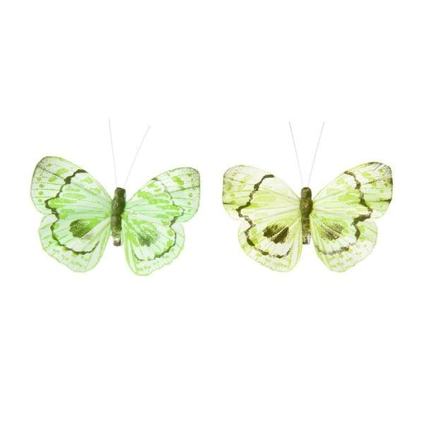 Sada dekorativních motýlů Green Mix, 24 ks