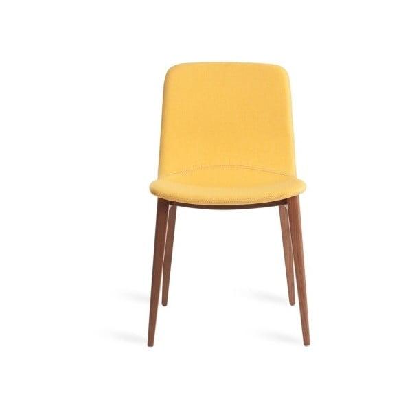 Hořčicově žlutá židle z ořechového dřeva Ángel Cerdá Comedy