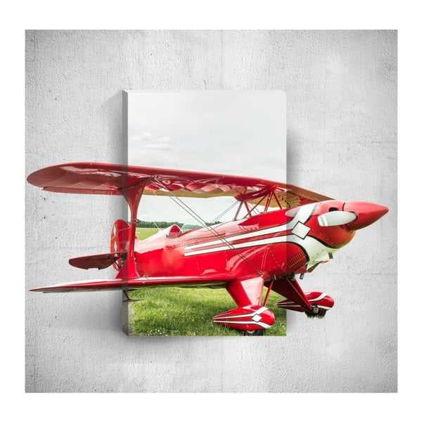 Red Plane 3D fali kép, 40 x 60 cm - Mosticx