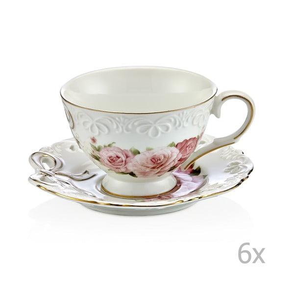 Sada 6 porcelánových hrnků na kávu s podšálky Eliana