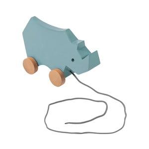 Dřevěná modrá dětská tahací hračka na kolečkách Sebra Rhino
