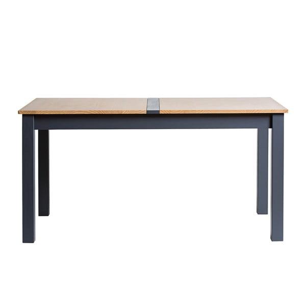 Antracitově šedý rozkládací jídelní stůl z masivního borovicového dřeva Marckeric Jade, 150x85cm