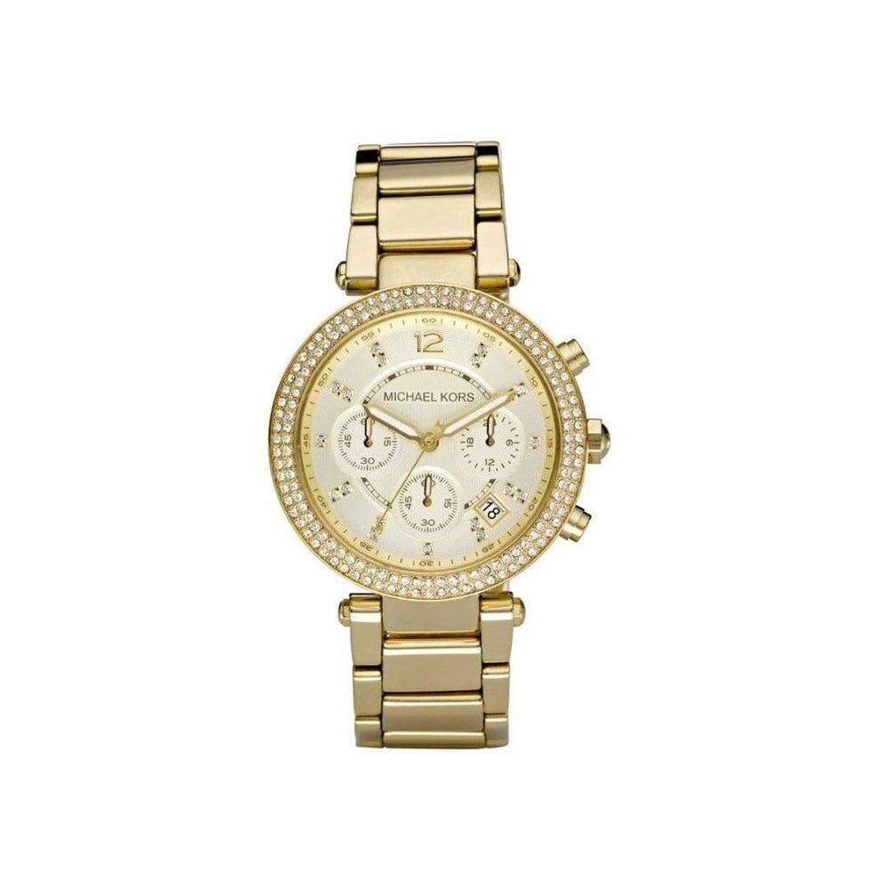 Dámské hodinky ve zlaté barvě lemované kamínky Michael Kors Parker