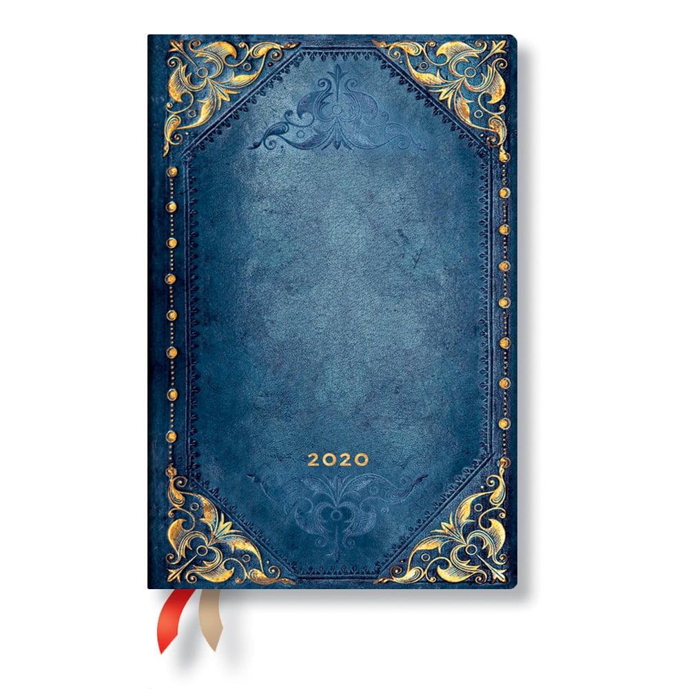 Modrý diář na rok 2020 v měkké vazbě Paperblanks Peacock Punk, 160stran