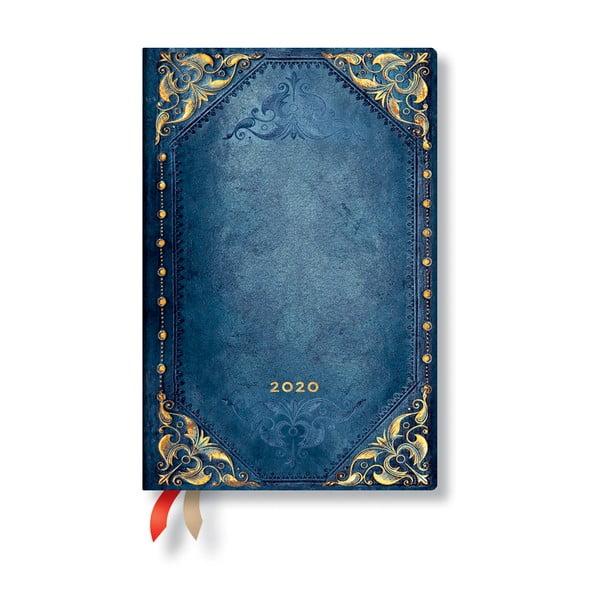 Modrý diár na rok 2020 v mäkkej väzbe Paperblanks Peacock Punk, 160 strán