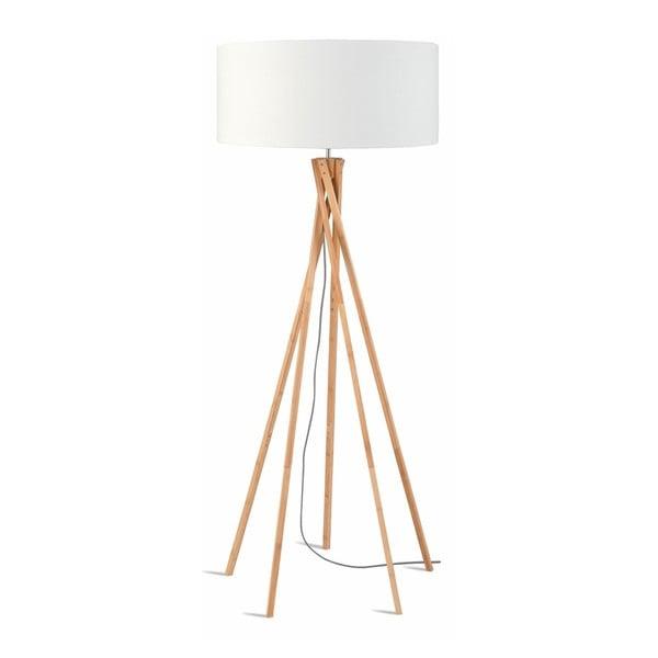 Kilimanjaro állólámpa fehér búrával és bambusz lámpatesttel - Good&Mojo