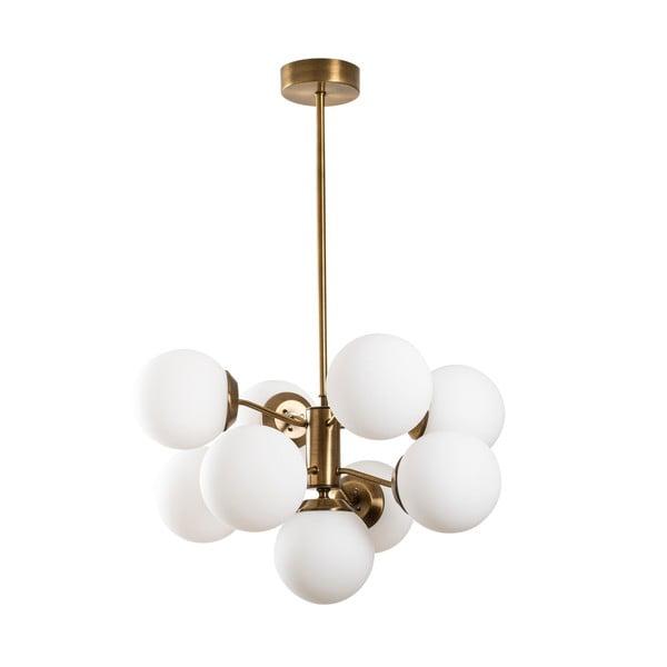Biała lampa wisząca z elementami w kolorze złota Opviq lights Mudoni