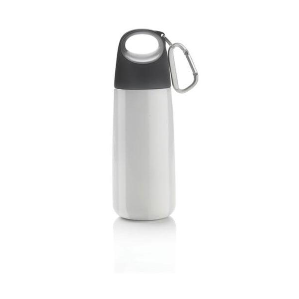 Sticlă din inox cu carabină XD Design Mini Bopp, alb - gri