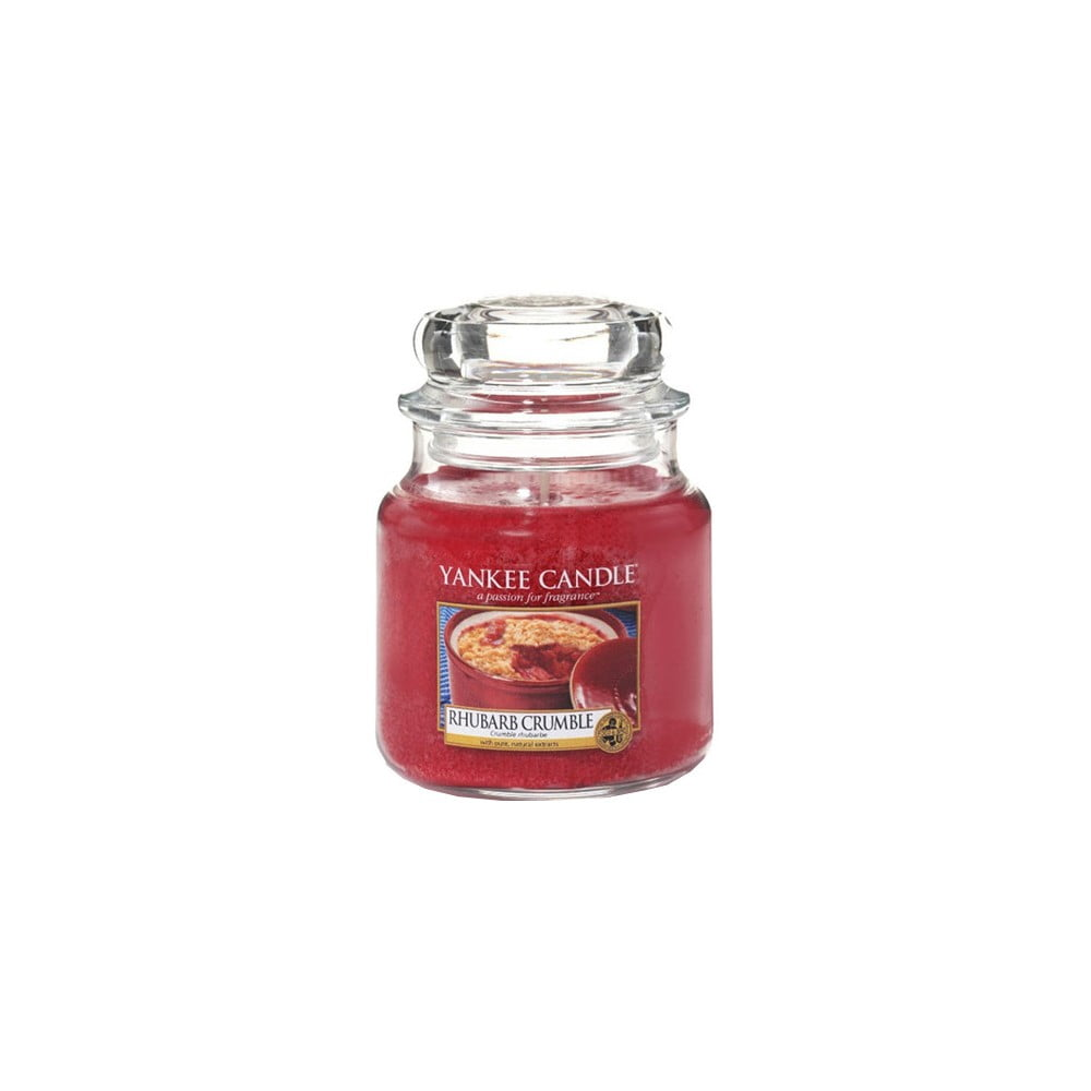 Vonná svíčka Yankee Candle Rebarborový Crumble, doba hoření 65 - 90 hodin
