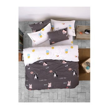 Lenjerie de pat cu cearșaf din bumbac ranforce, pentru pat dublu Mijolnir Papcik Anthracite, 200 x 220 cm de la Mijolnir