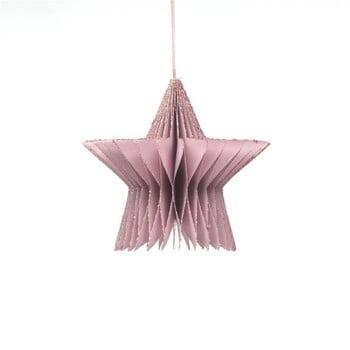 Decorațiune din hârtie pentru Crăciun, formă stea Only Natural, lungime 7,5 cm, roz auriu imagine