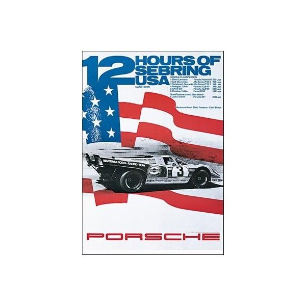 Plakát Porsche Sebring 1971, 70x50 cm