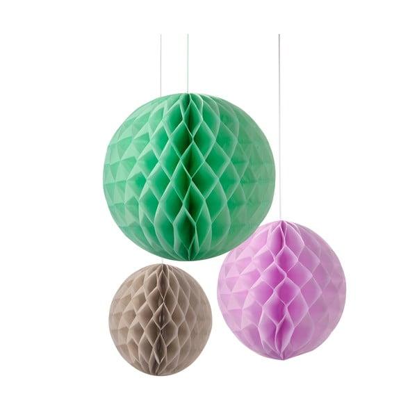 Papírové dekorace Honeycomb Macaroon, 3 kusy
