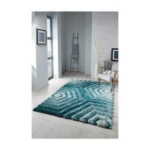 Modrozelený koberec Flair Rugs Hexagon Duck, 80 x 150 cm
