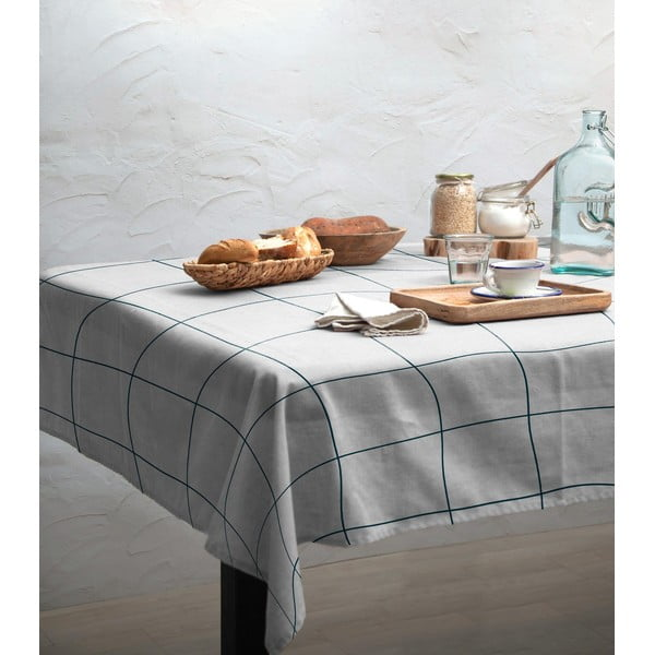 Față de masă Linen Couture Turquoise Lines, 140 x 140 cm