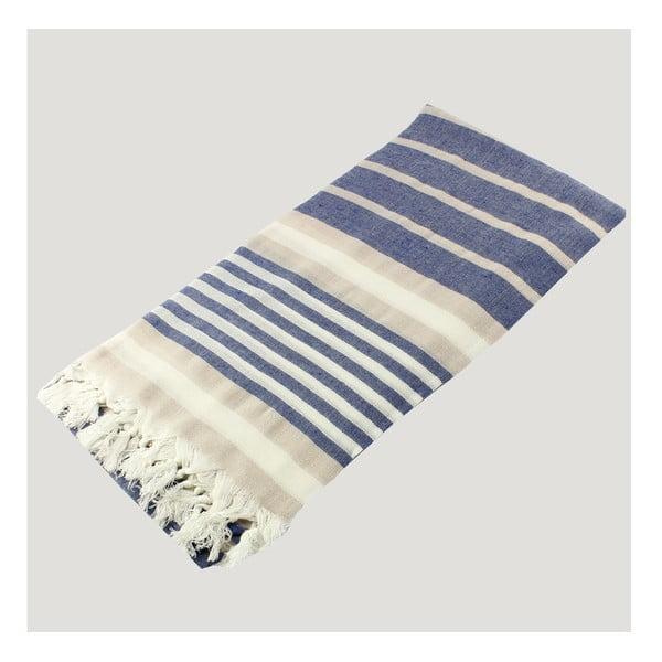 Modro-bílá osuška z čisté bavlny Hammam Alesta Style, 90  x  180 cm