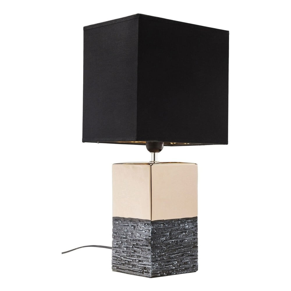 Větší stolní lampa ve zlaté barvě s černým stínítkem Kare Design Creation