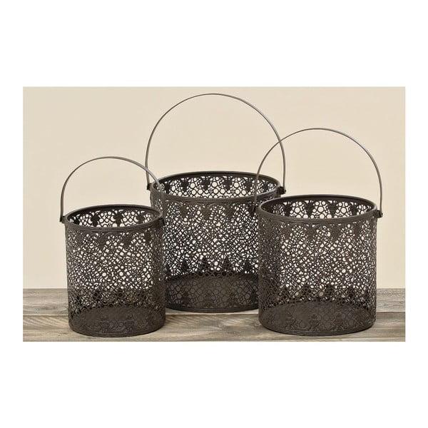 Sada 3 košíků/luceren Adele Iron