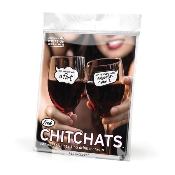 Sada 48 samolepek na skleničky Fred & Friends Chit Chats