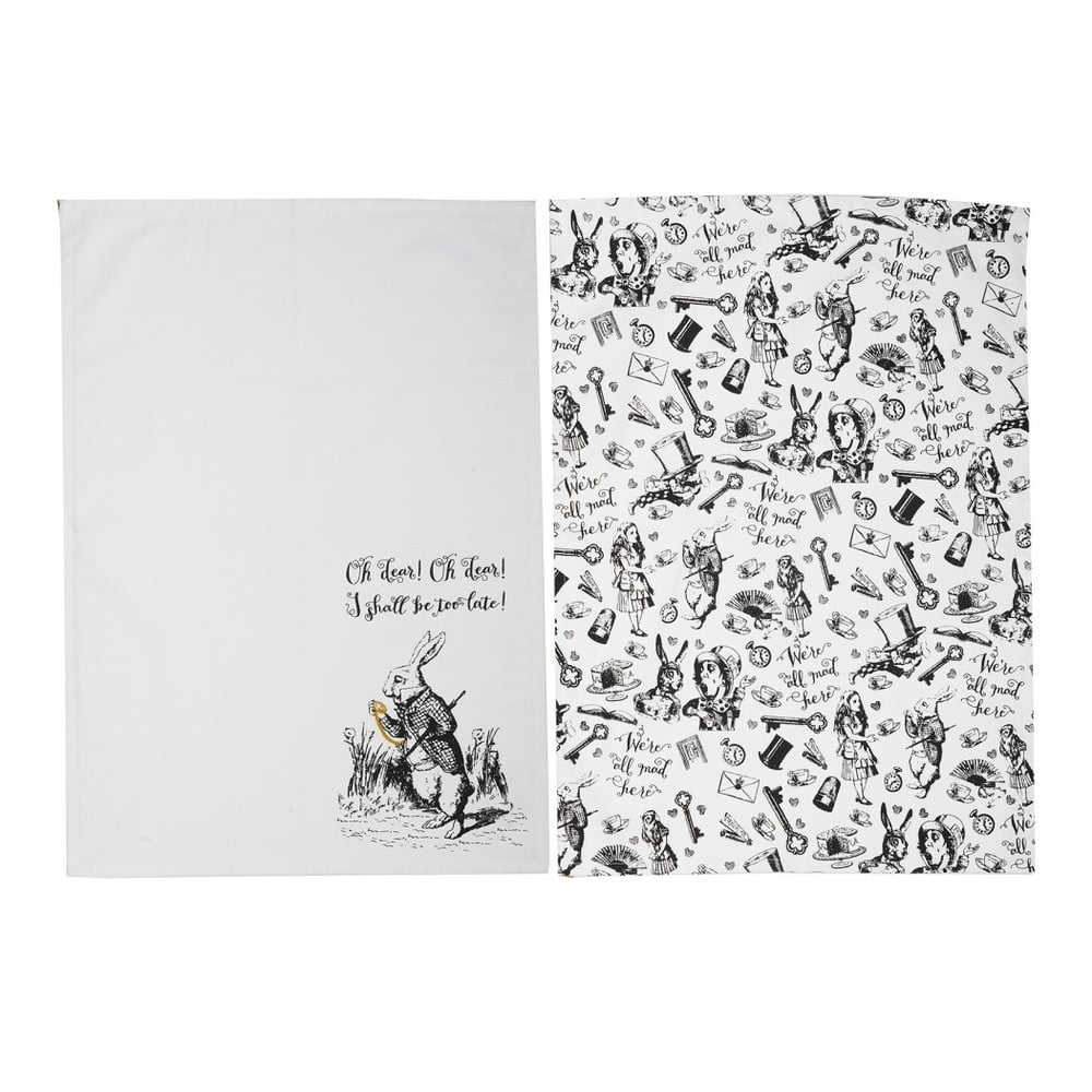 Sada 2 kuchyňských utěrek z bavlny Creative Tops Alice in Wonderland