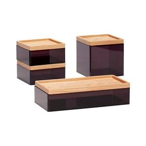 Sada 4 černých úložných boxů s víky z dubového dřeva Hübsch Eluf