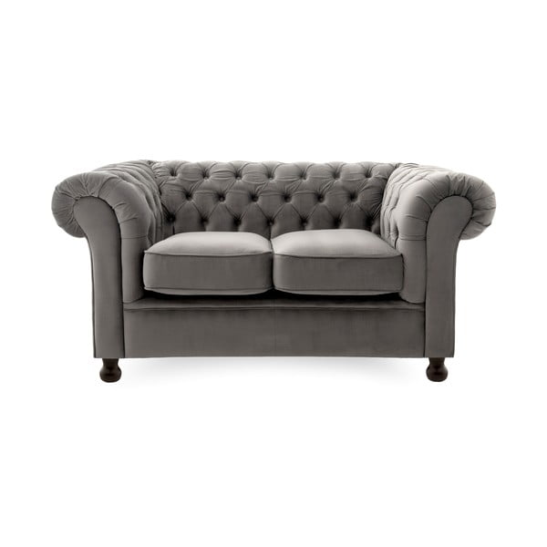Canapea 2 locuri Vivonita Chesterfield, gri