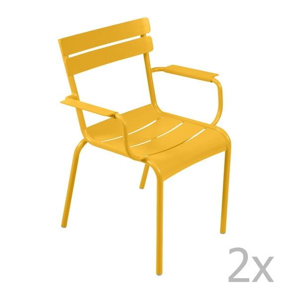 Sada 2 žlutých židlí s područkami Fermob Luxembourg