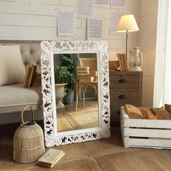 Zrcadlo s rámem z mangového dřeva Orchidea Milano Antique White Lace