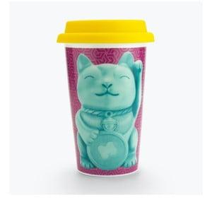 Keramický cestovní hrnek Just Mustard Lucky Cat,400ml