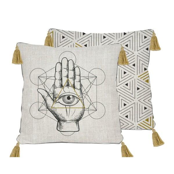 Dwustronna poszewka na poduszkę z domieszką lnu Madre Selva Symbolic Hand, 45x45 cm