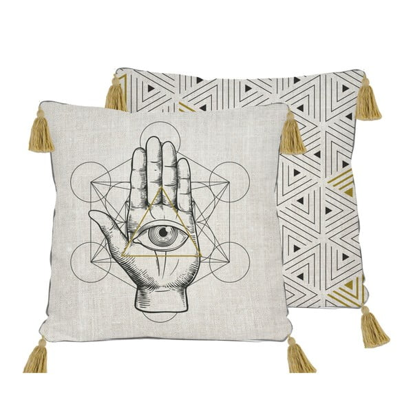 Symbolic Hand kétoldalas lenkeverék párnahuzat, 45x45 cm - Madre Selva