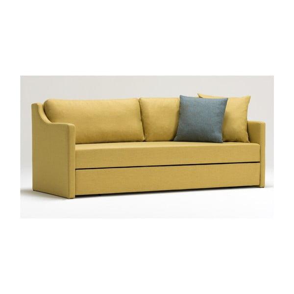 Žlutá trojmístná rozkládací pohovka Balcab Home Doty