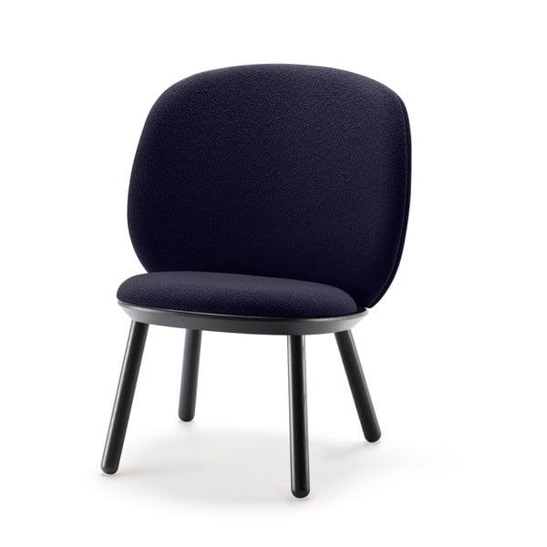 Scaun tapițat din lână EMKO Naïve, albastru-negru