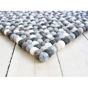 Covor cu bile din lână Wooldot Ball Rugs, 120 x 180 cm, alb - gri