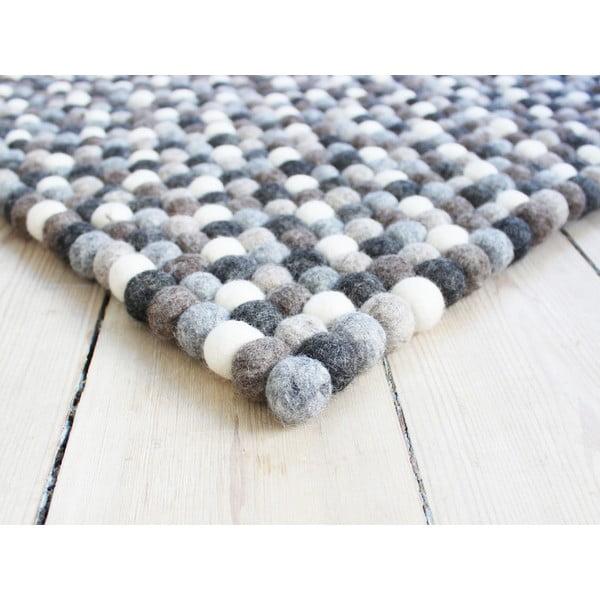 Covor cu bile din lână Wooldot Ball Rugs, 100 x 150 cm, alb - gri