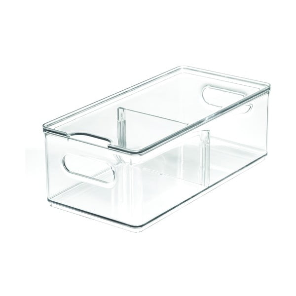Transparentní úložný box s víkem iDesign The Home Edit, 30,5 x 15,2 cm