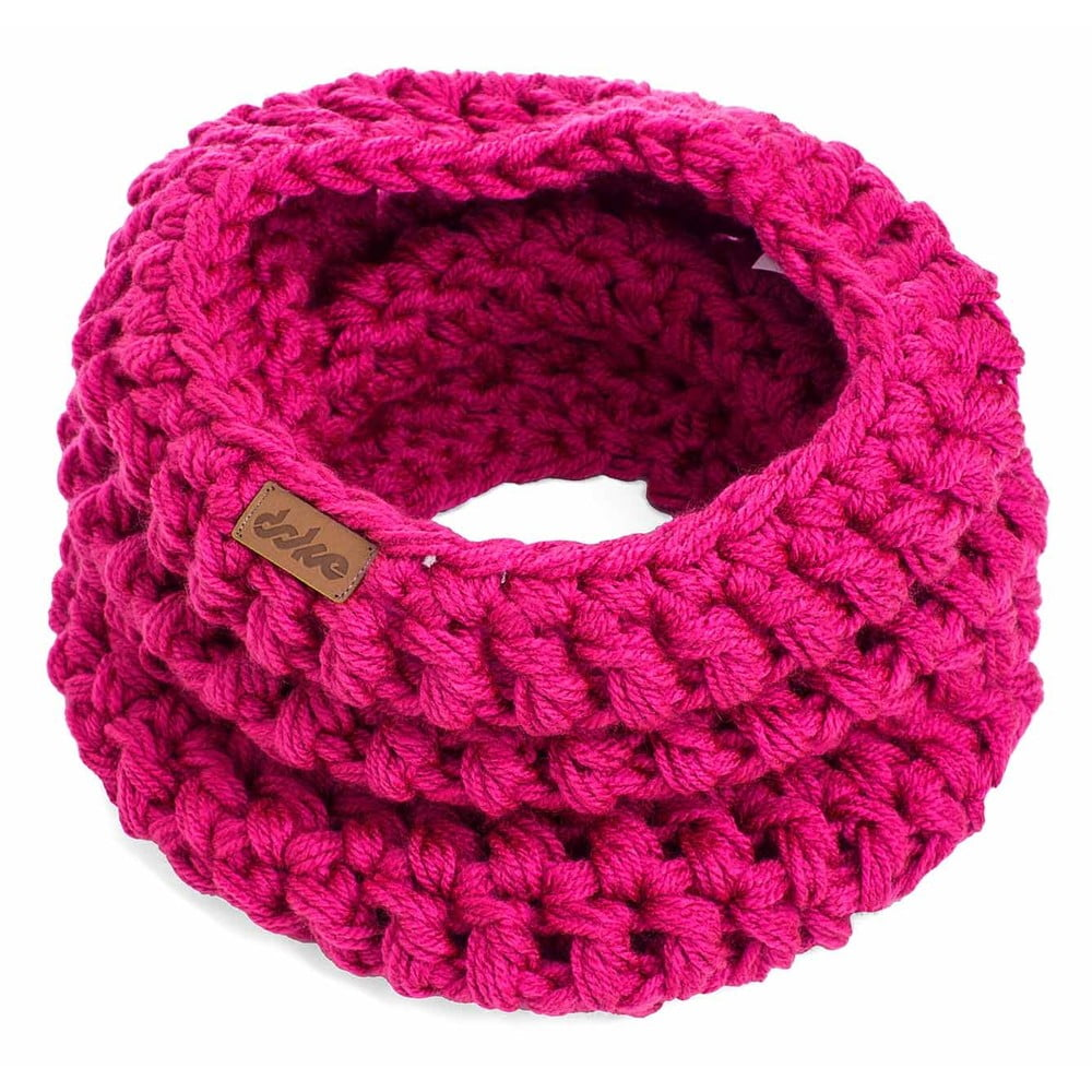 766e9958305 Růžový ručně háčkovaný nákrčník z merino vlny DOKE