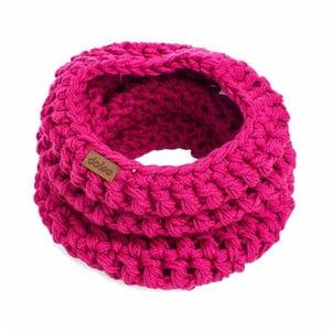 Růžový ručně háčkovaný nákrčník z merino vlny DOKE