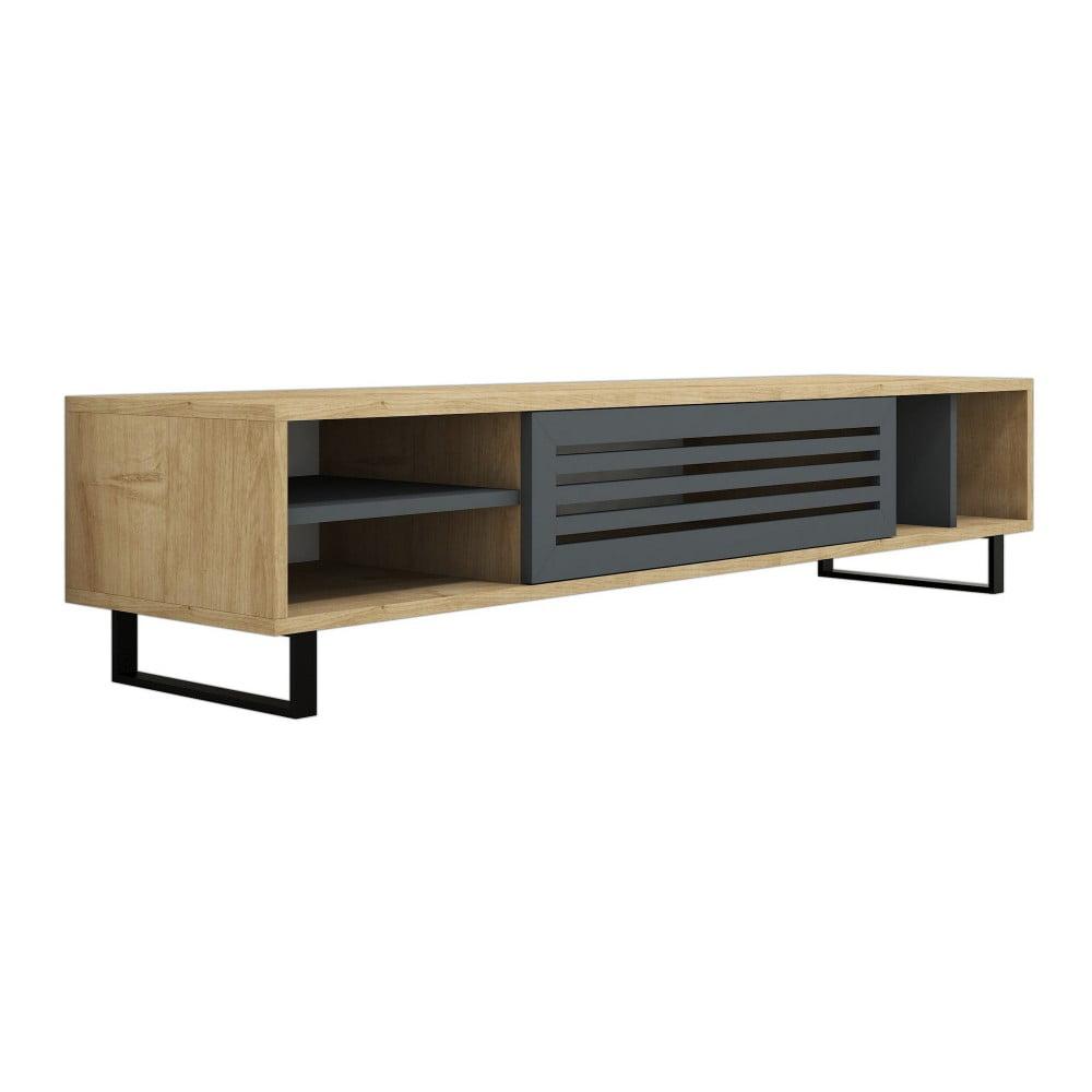 Hnědo-šedý TV stolek Safir