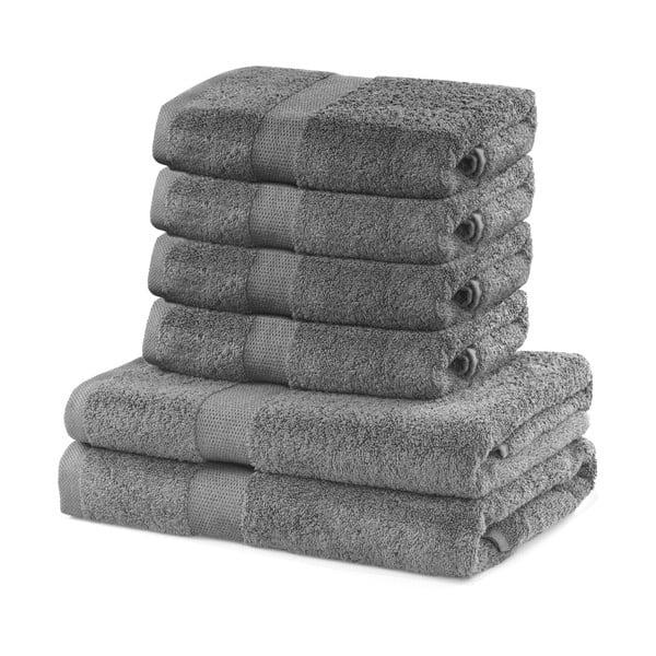 Set 2 bavlnených sivých osušiek a 4 uterákov DecoKing Marina