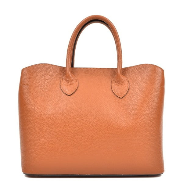 Koňakovohnedá kožená kabelka Isabella Rhea Shopping Cognac